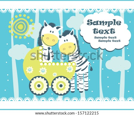 Baby arrival announcement card. Vector - stock vector