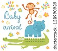 Baby arrival announcement card with african animals - stock vector