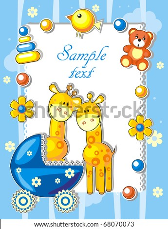 Baby arrival announcement card with giraffes and toys - stock vector