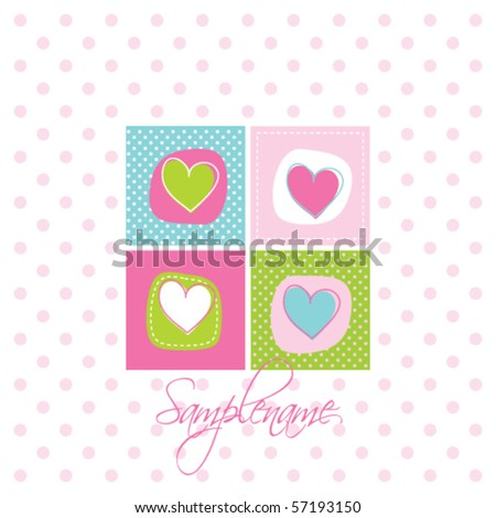 Baby arrival card - Greeting card - stock vector