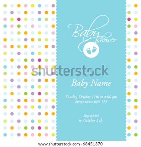 Baby arrival card or Baby shower - card template - stock vector