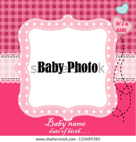 baby arrival card with photo frame in vector - stock vector