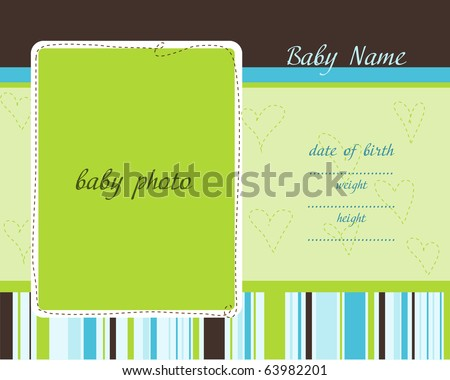 Baby Arrival Card with Photo Frames - stock vector