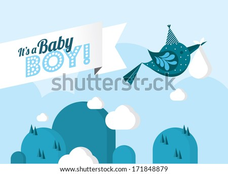 baby arrival/ it's a boy/ baby delivery/ baby boy template vector/illustration - stock vector