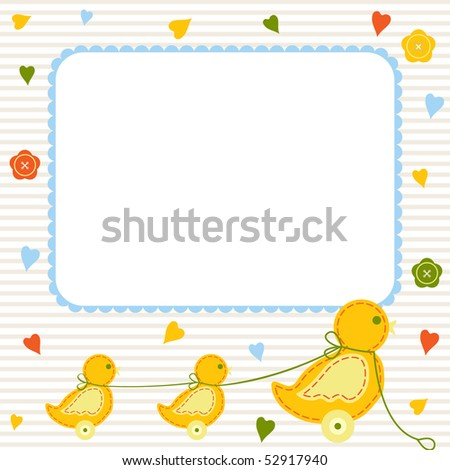 Baby arrival or birthday card, vector illustration - stock vector