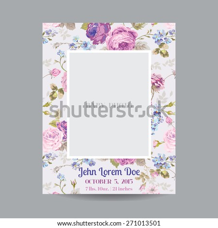 Baby Arrival or Shower Card - with Photo Frame and Floral Blossom Design - in vector - stock vector