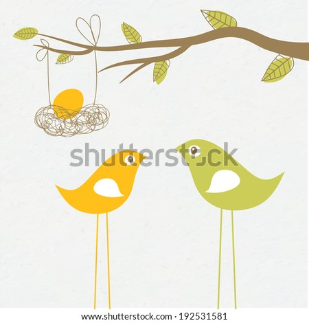 Baby arriving card with birds family and egg in the nest - stock vector