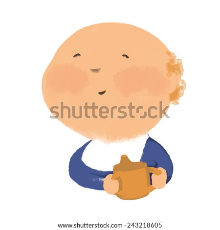 Baby baby eating from a bottle. Vector. May be used not only on white background. - stock vector