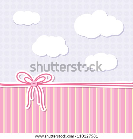 baby background with bow, buttons and clouds - stock vector