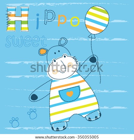 Baby background with cute little hippo for t-shirt design, baby shower, greeting card - stock vector