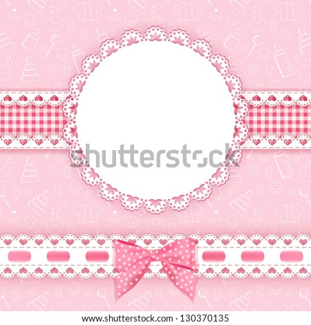 Baby background with frame. Vector illustration. - stock vector