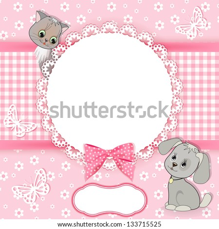 Baby background with frame. Vector illustration.