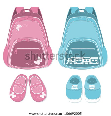 Baby backpack and shoes isolated  on a white background. - stock vector