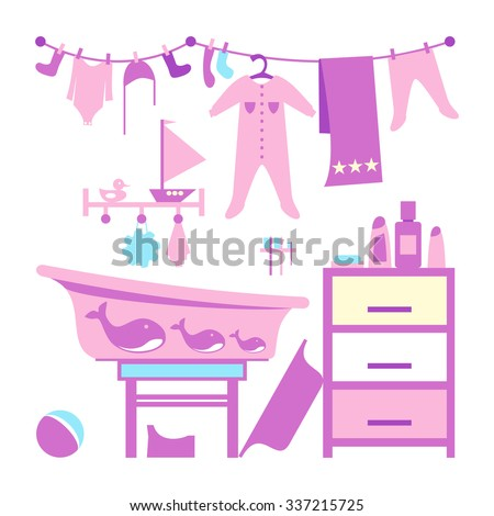 Baby bathroom interior. Toddler bathing cleaning items. Accessoires. Bath time for a kid. Shampoos and soap. Infant clothing. Baby shower greeting card design.  Editable vector design illustration - stock vector