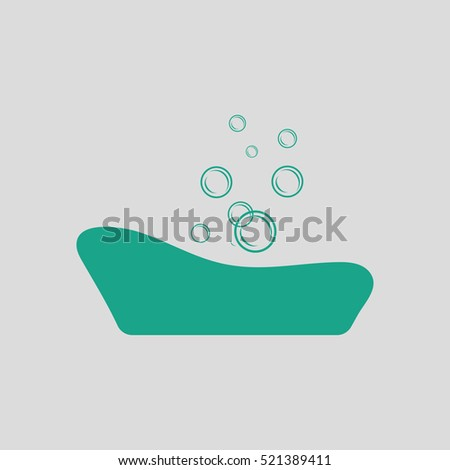 Baby bathtub icon. Gray background with green. Vector illustration.