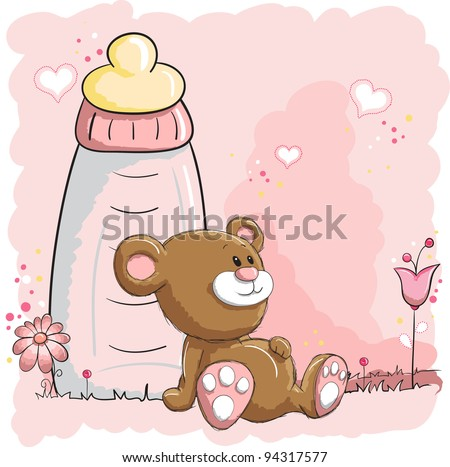 Baby bear and bottle - stock vector