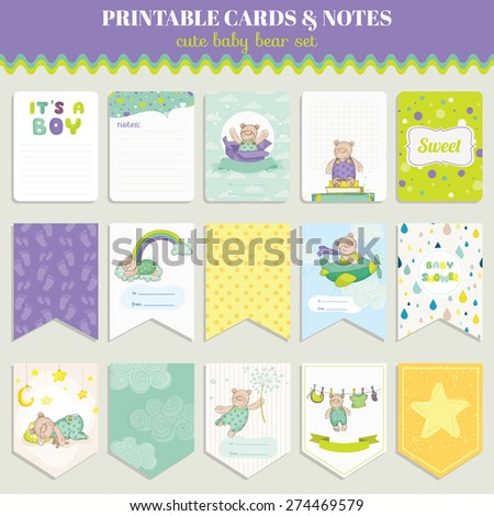 Baby Bear Card Set - for birthday, baby shower, party, design - in vector - stock vector