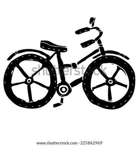 Baby bicycle black silhouette cartoon hand drawn illustration isolated on a white background  - stock vector