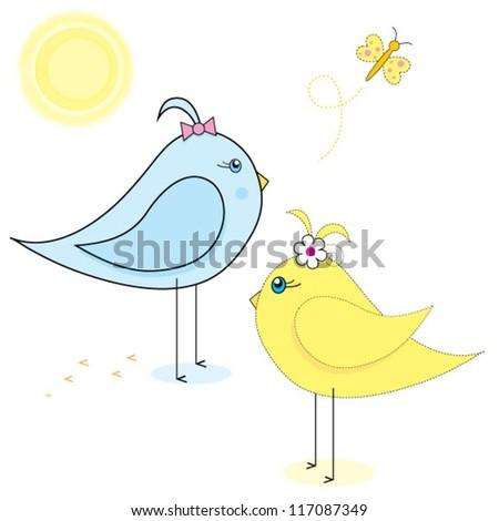 Baby Birds - stock vector
