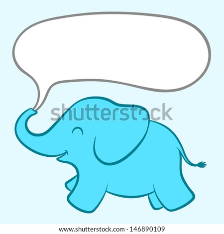 Baby blue elephant with a speech bubble - stock vector