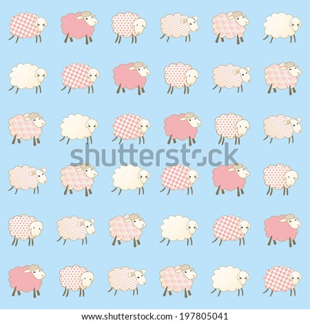 baby blue wallpaper with sheep - stock vector