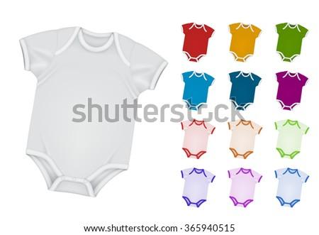 Baby bodysuit blank template. - stock vector