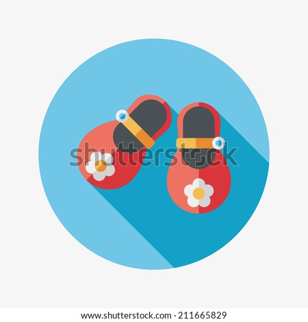 baby booties flat icon with long shadow - stock vector