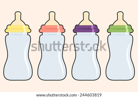 baby bottle background, illustration in vector format - stock vector