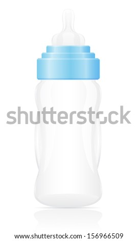 baby bottle blue vector illustration isolated on white background