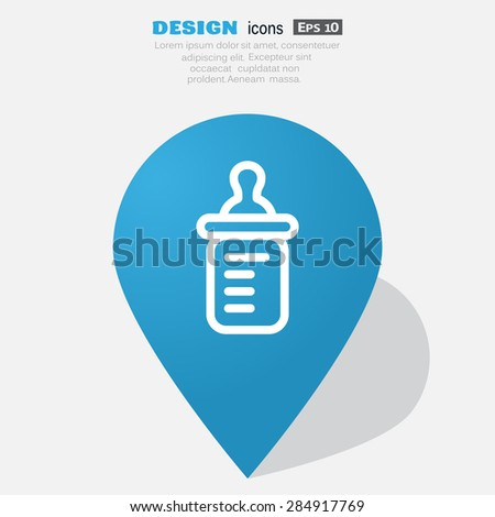 Baby bottle silhouette with a scale and a nipple, isolated on  b - stock vector