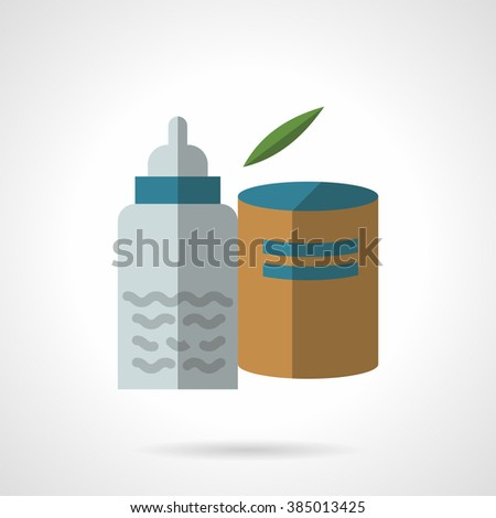 Baby bottle with liquid and container with infant formula. Organic baby food. Flat color style vector icon. Single design element for website, business. - stock vector