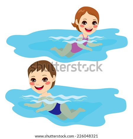 Baby boy and baby girl swimming alone happy - stock vector