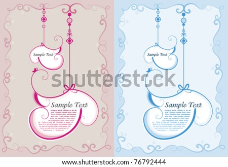 Baby boy and girl shower invitation - stock vector