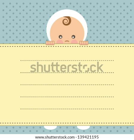 Baby boy announcement card. Vector illustration. - stock vector