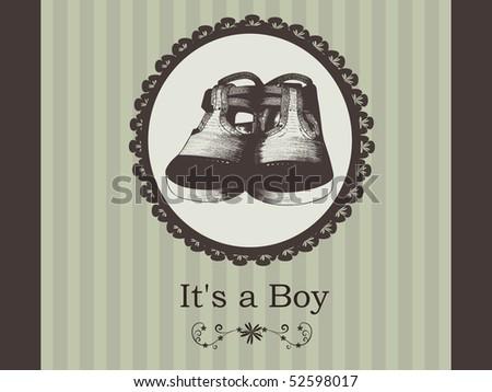 baby boy arrival announcement - stock vector