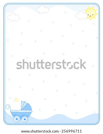 Baby boy arrival  announcement / party invitation card - stock vector