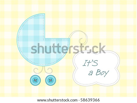 Baby boy arrival announcement, stylized pram and text frame - stock vector