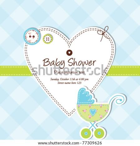 baby boy arrival card - Baby shower card - stock vector