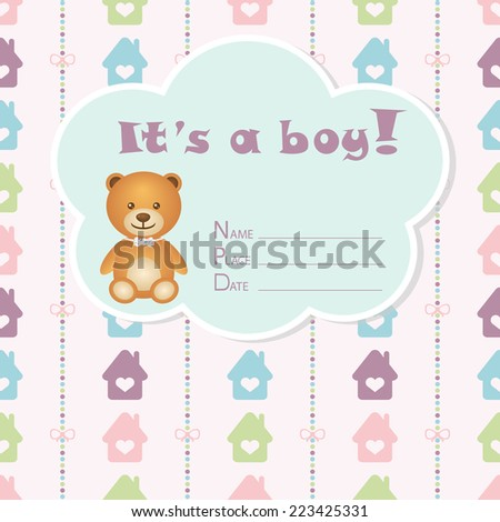 Baby boy arrival card. Baby shower card. Newborn baby card with bear, colorful houses and bows on a colorful strips background. Vector illustration. The text is drawn, the text can be removed. - stock vector