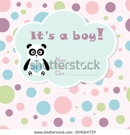 Baby boy arrival card. Baby shower card. Newborn baby card with panda and colorful circles. Vector illustration. The text is drawn, the text can be removed.