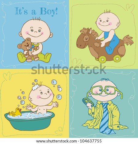 Baby Boy Arrival Card or Baby Shower Card - in vector - stock vector