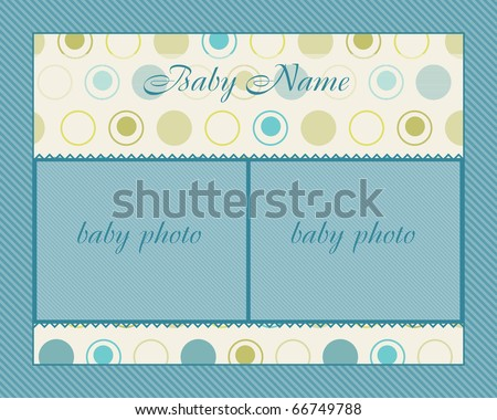 Baby Boy Arrival Card with Frame - stock vector