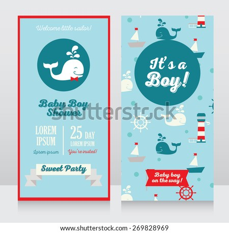 baby boy arrival cards template, cards with cute whale and nautical design, vector illustration - stock vector