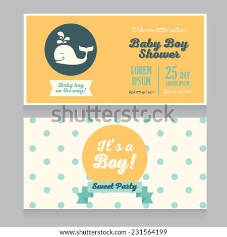 baby boy arrival cards template with polka dot ornament and cute whale, vector illustration - stock vector