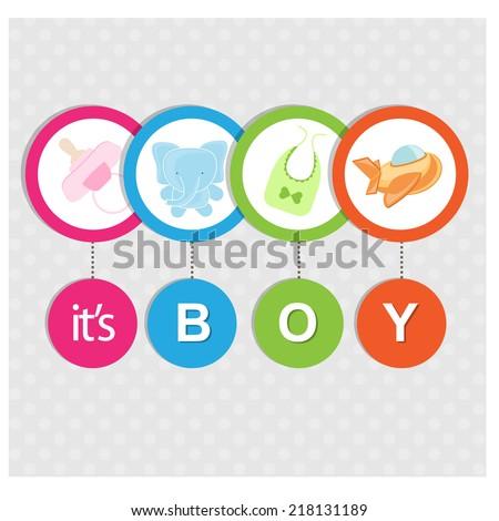 baby boy arrival invitation - stock vector