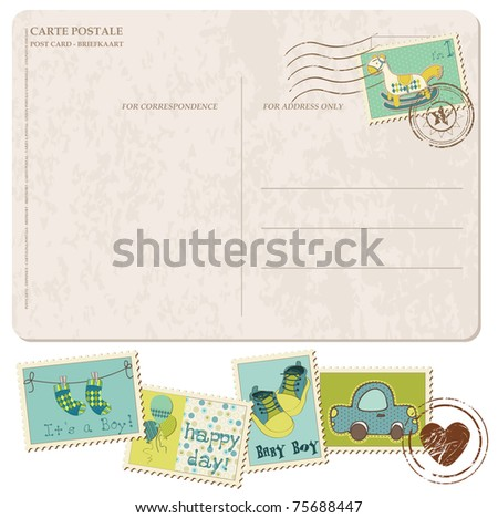Baby Boy Arrival Postcard with set of stamps