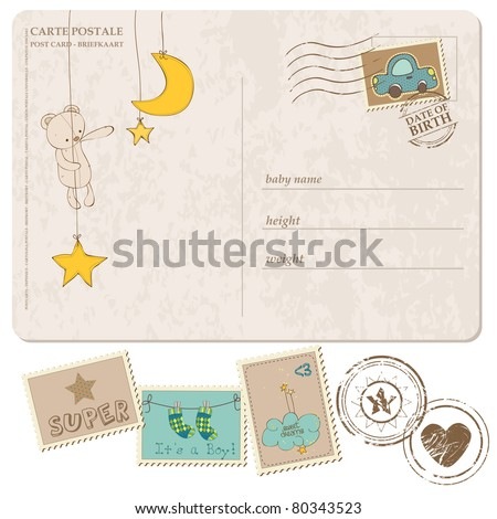 Baby Boy Arrival Postcard with set of stamps - stock vector