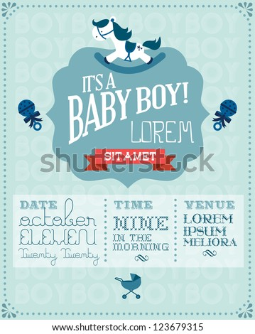 baby boy baby shower invitation card template vector/illustration - stock vector