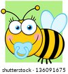 Baby Boy Bee Cartoon Character - stock photo