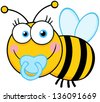 Baby Boy Bee Cartoon Mascot Character - stock photo